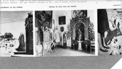 Objetos eclesiásticos exhibidos en una sala del museo de Santiago de Chile, reprografía