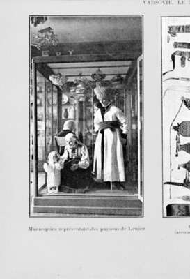 Ilustración de maniquíes con vestuario campesino de Lowiez en Polonia, reprografía