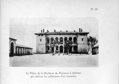 Ilustración con la fachada del edificio llamado Villa Ilissia en Atenas, reprografía