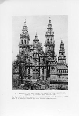 Fachada de la catedral de Santiago de Compostela en España, reprografía