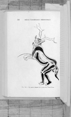 Ilustración pintura rupestre de forma zoomorfa en Francia, reprografía