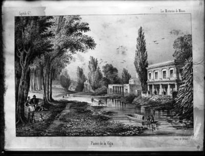 Paseo de la Viga, litografía de Deraen