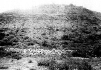 Pirámide de la luna antes de trabajos de excavación, vista lateral