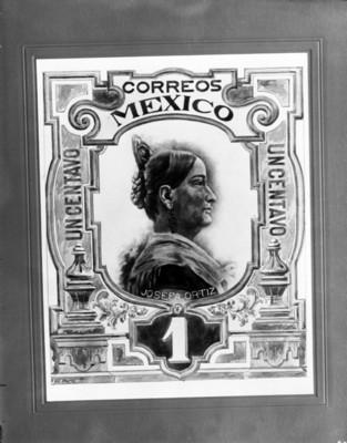 Josefa Ortíz de Domínguez, dibujo para timbre postal
