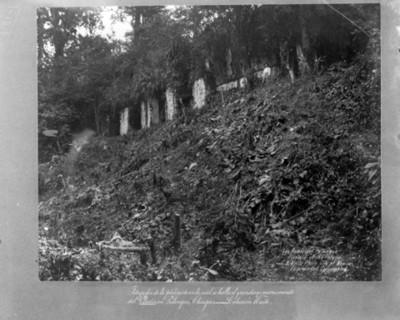 Palacio en zona arqueológica de Palenque antes de restauración