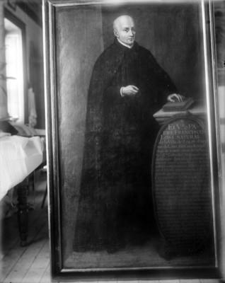 Francisco Loza, sacerdote, retrato al óleo, reprografía