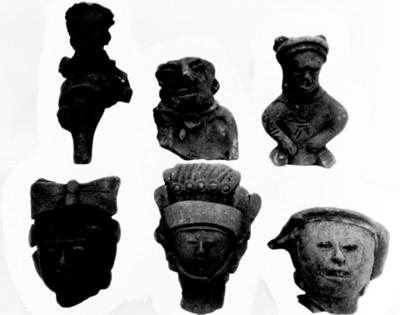 Fragmentos de máscaras y figurillas prehispánicas