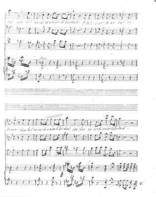 Segunda estrofa del Himno Nacional Mexicano, partitura