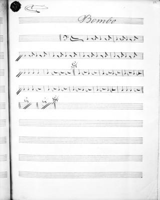 """Partitura musical con el título """"bombo"""""""