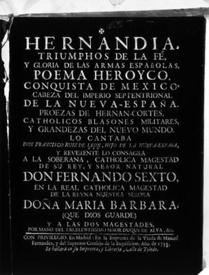 """""""Hernandia. Triunfos de la fe y gloria de las armas españolas"""", poema"""