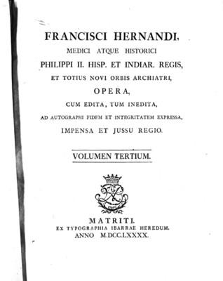 Francisci Hernandi, Medici Atque Historici, portada de libro