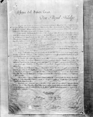 Documento sobre la autenticidad de efigie de Don Miguel Hidalgo