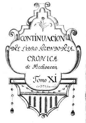 Continuación del libro segundo de la Crónica de Michoacán, portada de libro