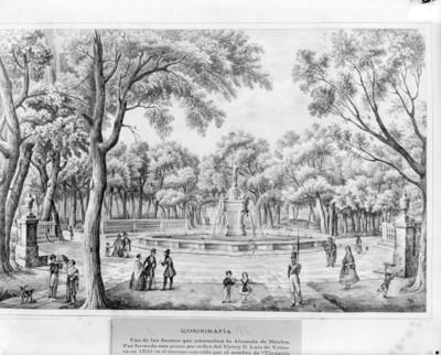 Litografía de la fuente de la Alameda de la ciudad de México