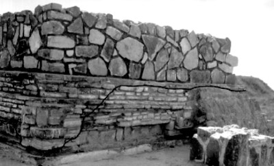 Los Danzantes, Templo del Sur con la parte conservada y reconstruida