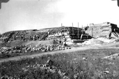 Trabajadores durante reconstrucción, lado norte
