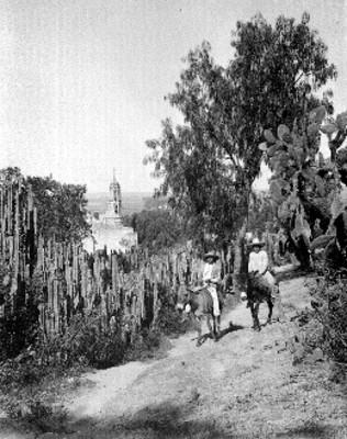 Hombres indígenas en burros en un camino de Chilpa
