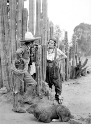 Charro y china poblana junto a cactus en un paraje, retrato