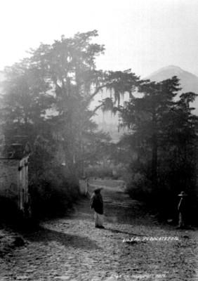 Hombres indígenas en un camino
