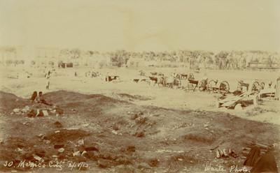 """Vista de cañones en un campo durante la Decena Trágica, """"Mexico City"""""""