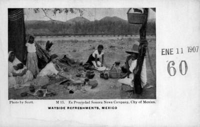 "Refresco junto al camino, ""Wayside refreshments, Mexico"", tarjeta postal"