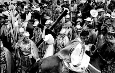 Escena del calvario durante la Pasión de Cristo en Iztapalapa