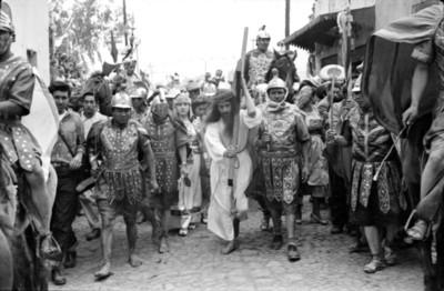 Representación del calvario de Jesús durante la Pasión de Cristo en Iztapalapa