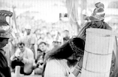 Actores en escena de la Pasión de Cristo en Iztapalapa