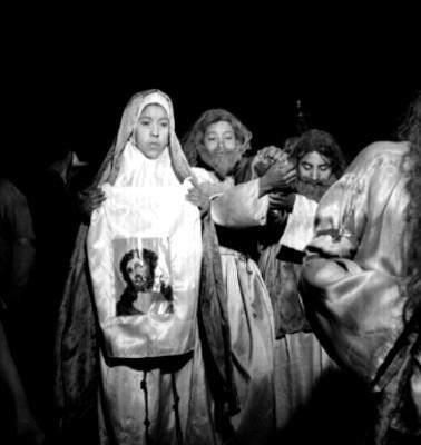 Verónica con el sudario, escena de la representación de la Pasión de Cristo en Iztapalapa