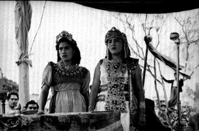 Mujeres durante el juicio, escena de la Pasión de Cristo en Iztapalapa
