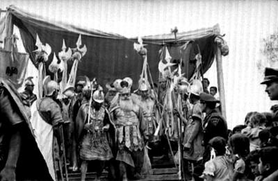 Soldados romanos en el juicio, escena de la Pasión de Cristo en Iztapalapa