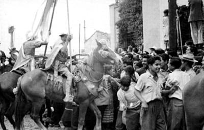 Actores durante al representación de la Pasión de Cristo en Iztapalapa