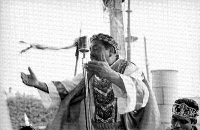 Actor durante la representación de la Pasión de Cristo en Iztapalapa