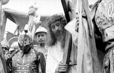Actores durante la representación de la Pasión de Cristo en Iztapalapa