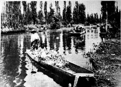 Gente a bordo de chalupas en el canal de Xochimilco