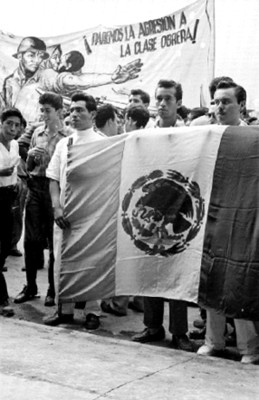 Manifestantes con una bandera