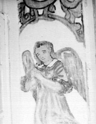 Ángel en el interior de una iglesia, pintura
