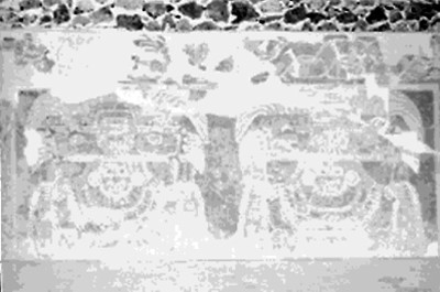 Tablero decorado con las dioses de jade o Tláloc verde en Tetitla