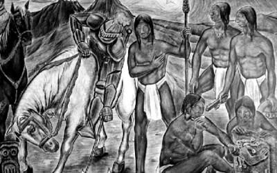 Pintura con motivos a la Conquista de México, reprografía