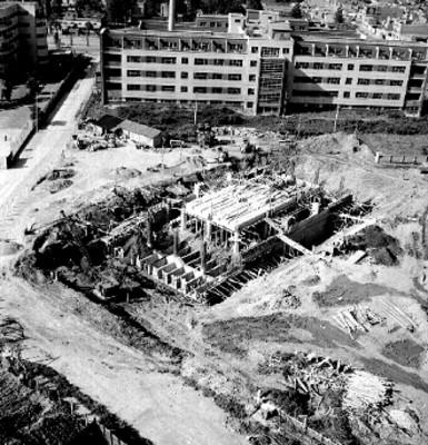 Construcción de un edificio, vista aérea