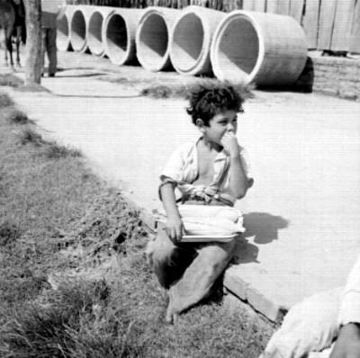 Niño con elotes sentados sobre una calle