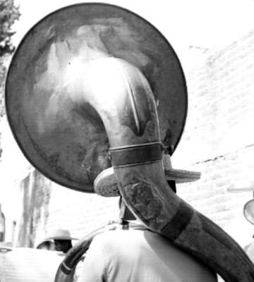 Músico toca la tuba en un jardín