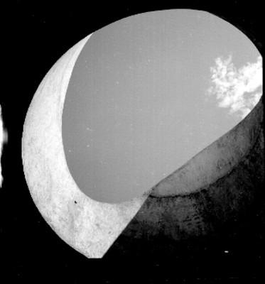 Arbol visto a través de arco de piedra
