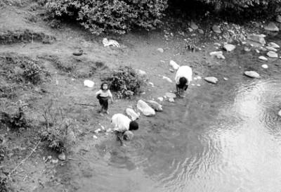 Mujeres tzotziles en un río