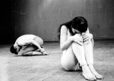 Pareja de bailarines durante un ensayo de ballet