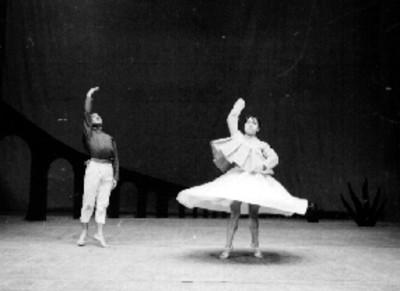 Pareja de bailarines de ballet durante una presentación