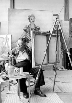 Diego Rivera entrevistado en su estudio