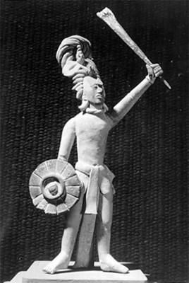 Figurilla antropomorfa de un guerrero maya
