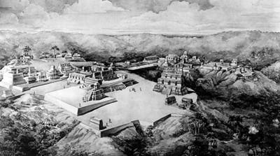 Reconstrucción en perspectiva de la ciudad de Uaxactún: en primer plano el Grupo A