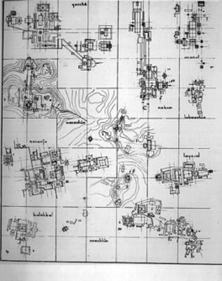 Plano comparativo de las Zonas Arqueólogicas de Guatemala